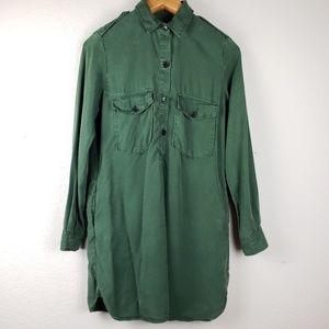 Zara military style green shirt dress sz S